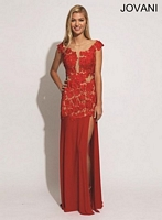 Jovani 77654 Sleeveless Illusion Evening Dress image
