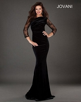 Jovani 77760 Sheer Lace Sleeve Velvet Gown image