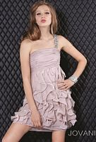 Size 4 Nude Jovani One Strap Homecoming Dress 781 image