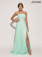 Jovani 78112 Beaded Ruched Chiffon Gown image