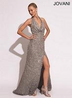Jovani 78184 Halter Draped Sequin Formal Dress image