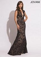 Jovani 78450 Plunging Neck Lace Formal Dress image