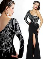 MacDuggal Prom One Shoulder Beaded Jersey Evening Dress 78522RM image