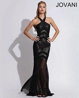 Jovani 78666 Sexy Leather Halter Gown image
