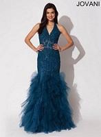 Jovani 79095 Beaded Halter Tulle Formal Dress image