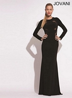 Jovani 79131 Long Sleeve Jersey and Lace Gown image