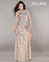 Jovani Illusion Neckline Beaded Dress 792 image