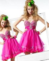 MacDuggal BabyDoll Short Prom Dress with Beaded Bust 81048B image