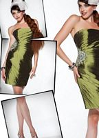 BabyDoll by MacDuggal Olive Iridescent Taffeta Cocktail Dress 81214B image