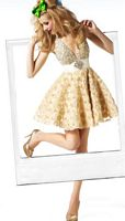BabyDoll by MacDuggal Gold Ivory Halter Short Prom Dress 81307B image