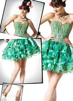 BabyDoll by MacDuggal Green Glossy Print Short Prom Dress 81397B image