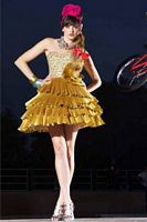 BabyDoll by MacDuggal Gold Pleated Short Prom Dress 81400B image