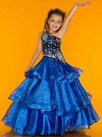 MacDuggal Sugar 81690S Girls Metallic Organza Pageant Dress image