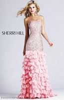 Sherri Hill Long Beaded Prom Dress with Ruffles 8434 image