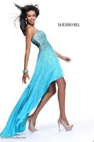 Size 0 Turquoise Sherri Hill 8502 High Low Beaded Dress image
