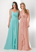 Size 12 Aqua Bari Jay 855 Pleated Bodice Bridesmaid Dress image