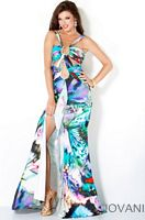Jovani Long Print Prom Dress with Cut-Outs and High Slit 862 image