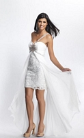 Size 10 Ivory Dave and Johnny 8687 High Low One Shoulder Dress image