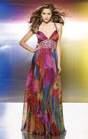 Flaunt Colorful Print Chiffon Beaded Prom Dress 8801 by Mori Lee image