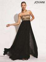 Jovani 88082 Gold Embellished Formal Dress image