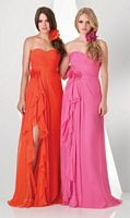 Size 14 Pumpkin Bari Jay 881 Bridesmaid Dress with Flower image