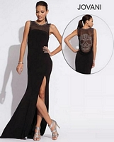 Jovani 88143 Studded Skull Jersey Gown image