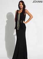 Jovani 88147 Jersey Gown with Fringe image