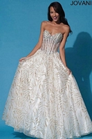 Jovani 88176 Sheer Corset Ball Gown image