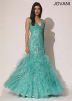 Jovani 88243 Mermaid Dress with Lace image