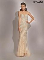 Jovani 88314 Plunging Sheer Formal Dress image