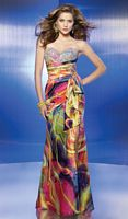 Colorful Print Beaded Prom Dress Flaunt 8834 by Mori Lee image