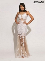 Jovani 88431 Lace Gown with Illusion Skirt image
