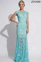 Jovani 88435 Cap Sleeve Lace Formal Dress image