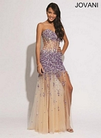 Jovani 88463 Gown with Sheer Illusion Skirt image