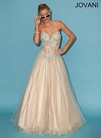 Jovani 88472 Exposed Corset Tulle Ball Gown image