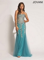 Jovani 88629 Embroidered Tulle Mermaid Dress image