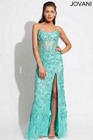 Jovani 88645 Lace Beaded Corset Evening Dress image