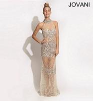 Jovani 88659 Halter Crystal Formal Dress image