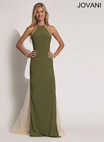 Jovani 88925 Jersey Halter Gown with Sheer Back image