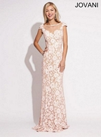 Jovani 88953 Cap Sleeve Lace Formal Dress image