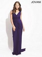 Jovani 88980 Beaded Shoulder Jersey Formal Dress image