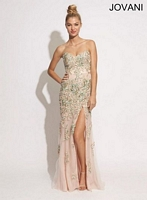Jovani 89259 Gown with Beaded Appliques image