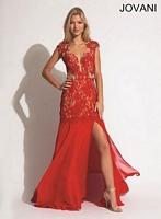 Jovani 89276 Crystal Lace Chiffon Formal Dress image