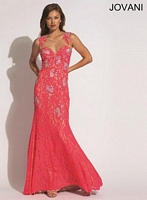 Jovani 89408 Lace Gown with Sheer Panels image