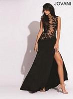 Jovani 89590 Sleeveless Jersey Illusion Gown image