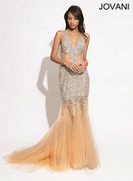 Jovani 89650 Gown with Illusion Skirt image