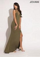 Jovani 89685 Halter Jersey Formal Dress image