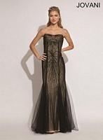 Jovani 89801 Mermaid Dress with Tulle Overlay image