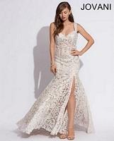 Jovani 89810 Lace Plunging Back Formal Dress image