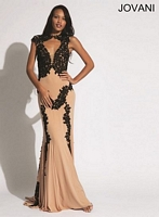 Jovani 89902 Plunging Neck Jersey Gown with Lace image